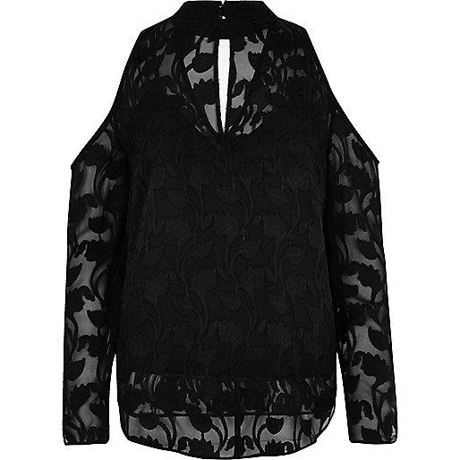 Black cold shoulder choker blouse