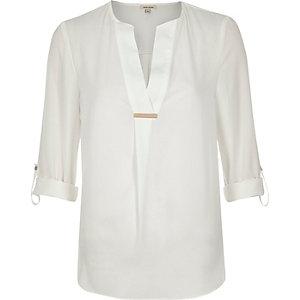 Cream gold trim blouse