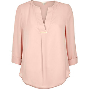 Light pink gold trim blouse