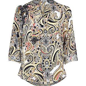 Cream print blouse