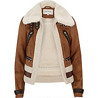 Brown faux suede shearling aviator coat