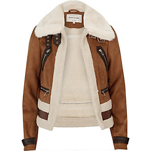 Brown faux suede shearling aviator coat