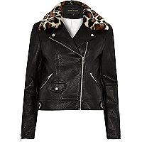 Black leopard print trim biker jacket