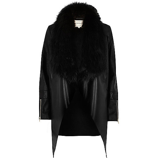 Black faux fur trim waterfall jacket