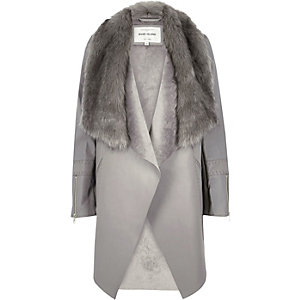 Grey faux fur trim waterfall jacket