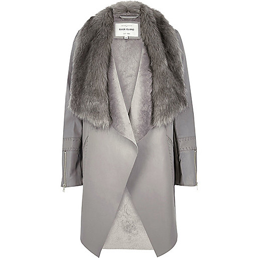 Grey faux fur trim waterfall jacket