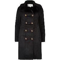 Black faux fur trim military coat