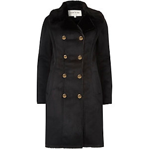 Black faux fur trim military coat