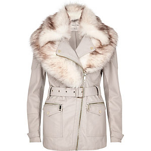 Cream faux fur shawl belted coat