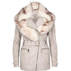 Cream faux fur shawl belted coat