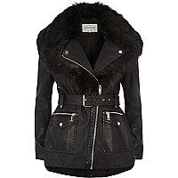 Black faux fur shawl belted coat