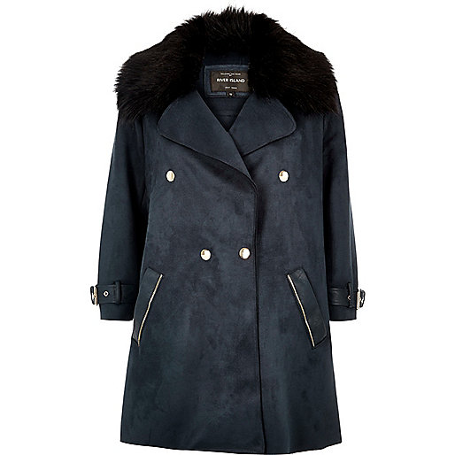 Navy faux fur trim double-breasted coat