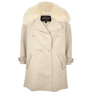 Cream faux fur trim double-breasted coat