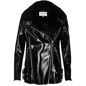 Black patent leather look aviator coat