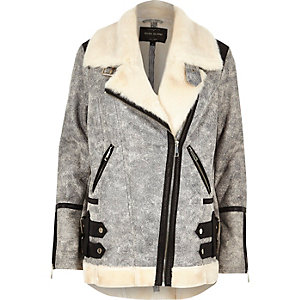 Grey crackle leather look aviator coat