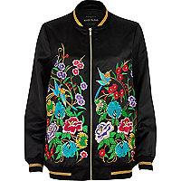 Black floral embroidered bomber jacket