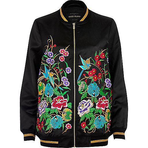 Black floral embroidered bomber jacket