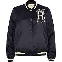 Navy slogan embroidered bomber jacket