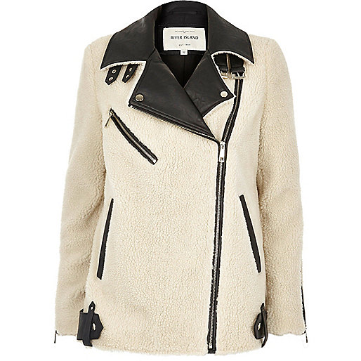 Cream fleece aviator coat