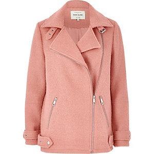 Pink wool aviator coat