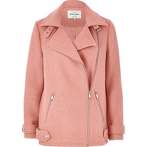 Manteau aviateur en laine rose