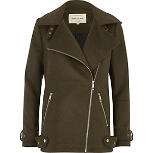 Khaki green wool blend aviator coat