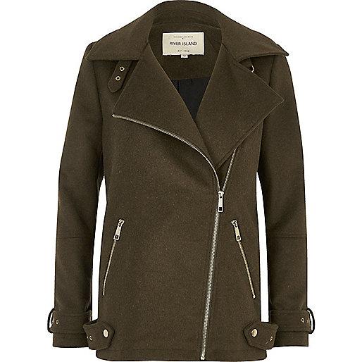 Khaki green wool aviator coat