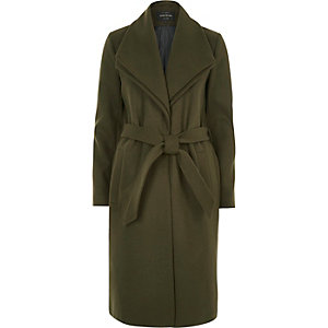 Khaki double collar robe coat