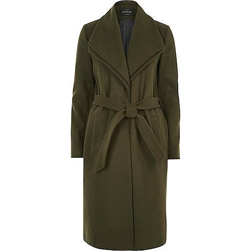 Khaki double collar robe coat