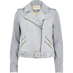 Light blue suede biker jacket