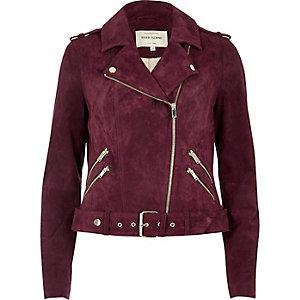 Burgundy suede biker jacket