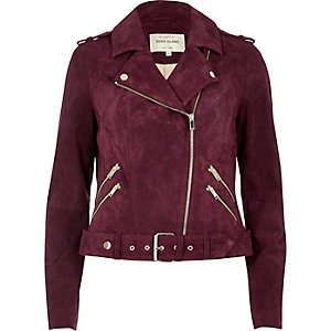 Dark red suede biker jacket