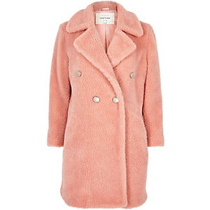 Pink fleece double-breasted coat