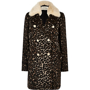 Brown leopard print faux fur trim overcoat