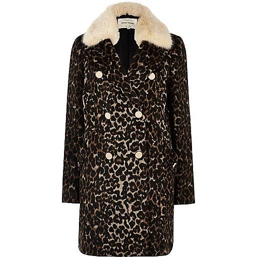 Manteau imprimé léopard marron bordé de fausse fourrure