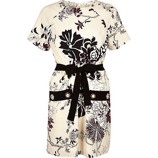 Cream floral print eyelet dress