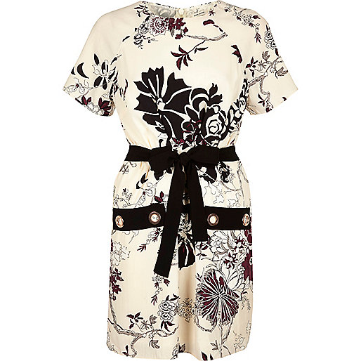 Robe à œillets et imprimé fleuri crème