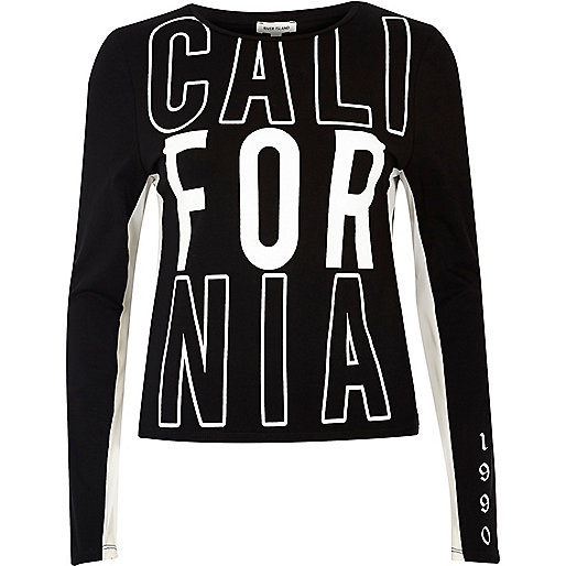 Top noir en tulle inscription California