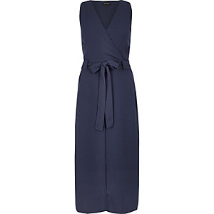 Navy layered wrap dress