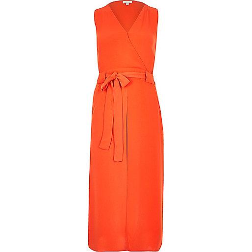 Bright orange wrap shirt dress