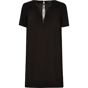 Black lace dip swing dress