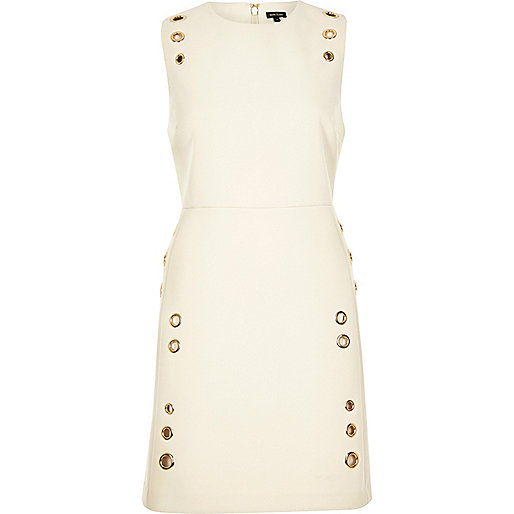 Cream eyelet A-line dress