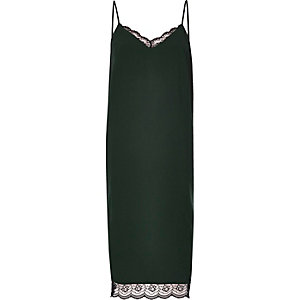 Dark green lace midi slip dress