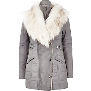 Light grey padded faux fur trim jacket