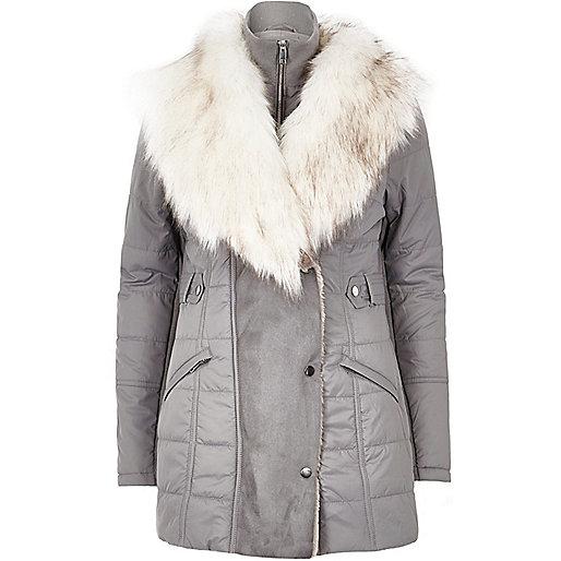 Light grey padded faux fur trim jacket