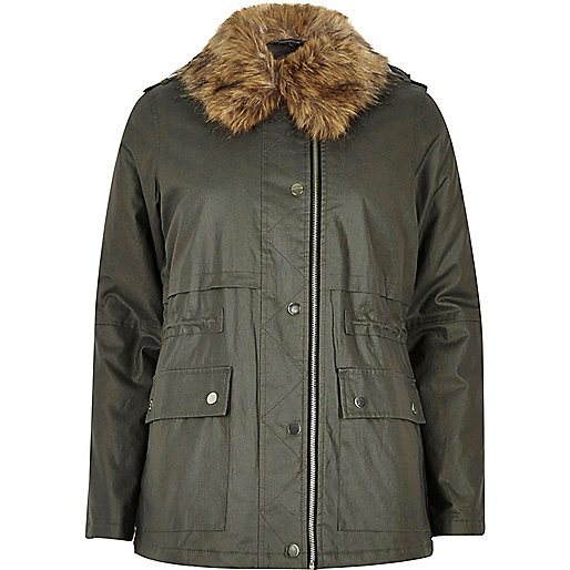 Khaki green waxed faux fur trim jacket