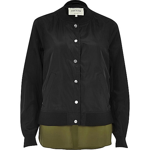 Black bomber jacket with shirt detail