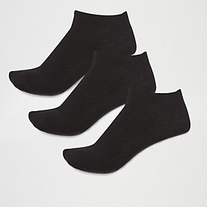 Black cotton sneaker socks multipack