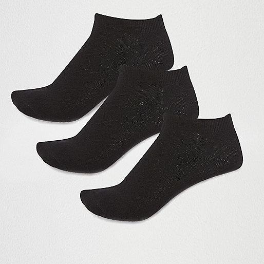 Black cotton sneaker socks multipack