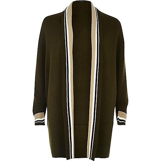 Khaki longline stripe cardigan